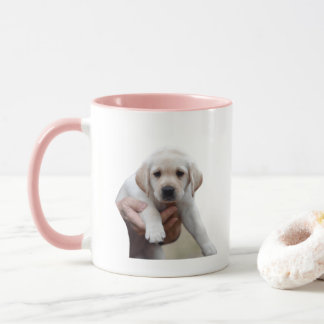 Yellow Lab Puppy Being Held By a Friend Mug