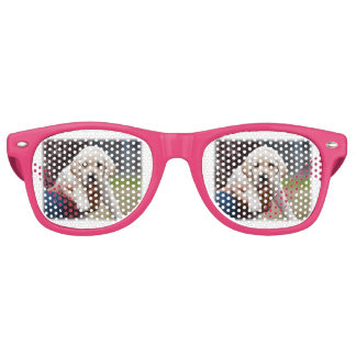 Yellow Lab Puppy Being Held By a Friend Retro Sunglasses