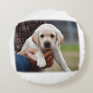 Yellow Lab Puppy Being Held By a Friend Round Pillow