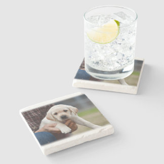 Yellow Lab Puppy Being Held By a Friend Stone Coaster