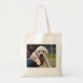Yellow Lab Puppy Being Held By a Friend Tote Bag