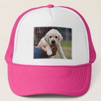 Yellow Lab Puppy Being Held By a Friend Trucker Hat