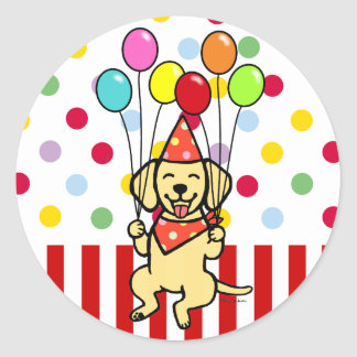 Yellow Lab Puppy Birthday Balloons Round Sticker