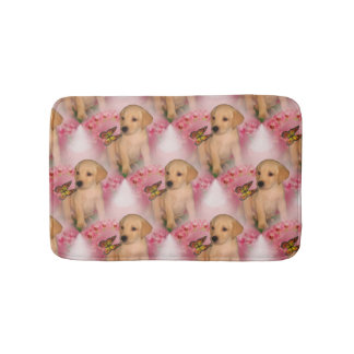 Yellow Lab Puppy Butterfly Animal Pattern Bathroom Mat