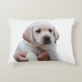 Yellow Lab Puppy In My Arms Decorative Pillow