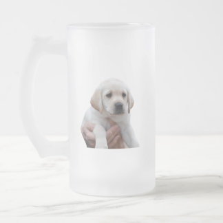 Yellow Lab Puppy In My Arms Frosted Glass Beer Mug
