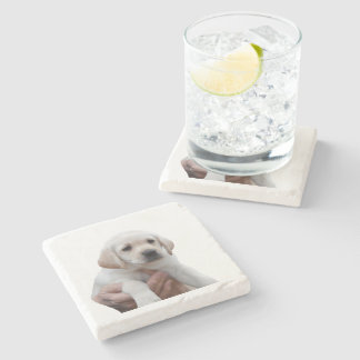 Yellow Lab Puppy In My Arms Stone Coaster