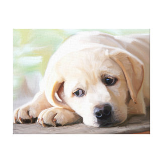 Yellow Lab Puppy Oil Painting Labrador Retriever Canvas Print