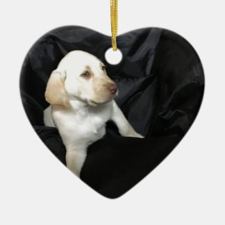 Yellow lab puppy Sadie Ceramic Heart Ornament