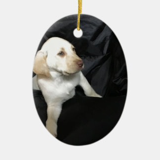 Yellow lab puppy Sadie Ceramic Oval Ornament