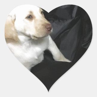 Yellow Lab Puppy Sadie Heart Sticker