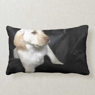 Yellow lab puppy Sadie Lumbar Pillow