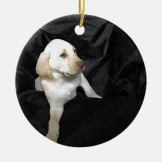 Yellow lab puppy Sadie Round Ceramic Ornament