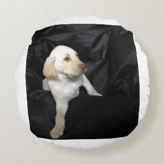 Yellow lab puppy Sadie Round Pillow