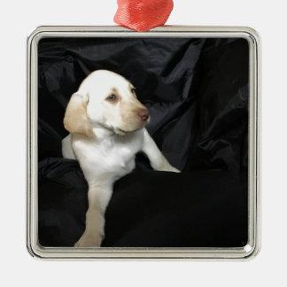 Yellow Lab Puppy Sadie Silver-Colored Square Ornament