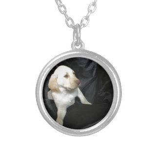 Yellow lab puppy Sadie Silver Plated Necklace
