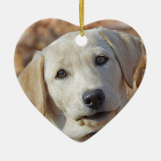 Yellow Lab Puppy Valentines Day Heart Shaped Ceramic Ornament