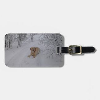 Yellow Lab Relaxing in Fresh Winter Snow Bag Tag