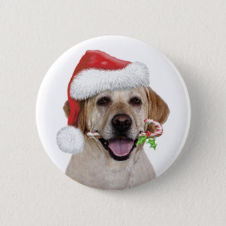 Yellow Lab Santa 2 Inch Round Button