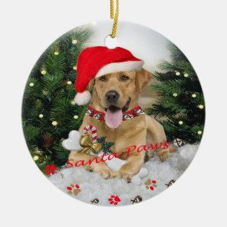 Yellow Lab Santa Paws Ornament