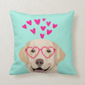 Yellow Lab Valentines Pillow - hearts