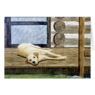 Yellow Lab with Cabin Blank Greeting Card