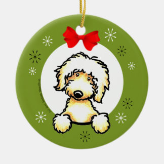 Yellow Labradoodle Christmas Classic Ceramic Ornament