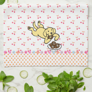 Yellow Labrador and Doughnuts Kitchen Towel