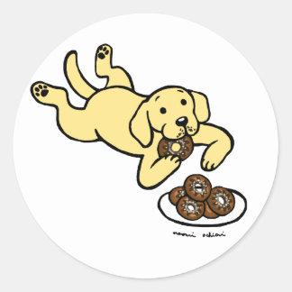 Yellow Labrador and Doughnuts! Round Sticker