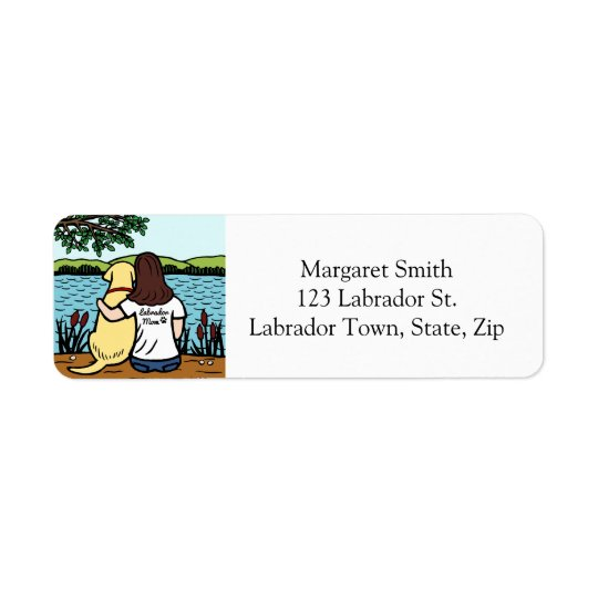 Yellow Labrador and Mom Long Return Address Label