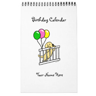 Yellow Labrador Cartoon Birthday Calendar