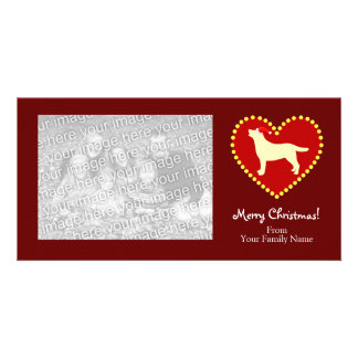 Yellow Labrador Christmas Outline Custom Photo Card