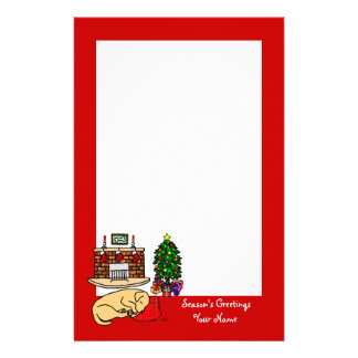 Yellow Labrador Christmas Red Stationery