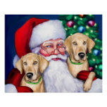 Yellow Labrador Christmas Santa's Labs Poster
