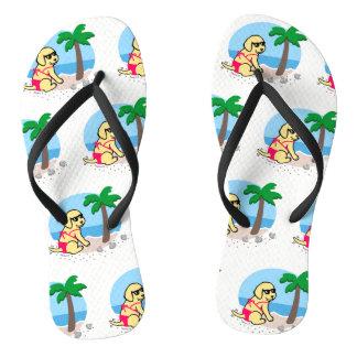 Yellow Labrador Girl Summer Vacation Flip Flops
