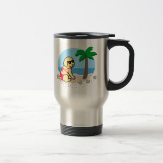 Yellow Labrador Girl Summer Vacation Travel Mug