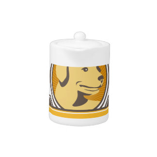 Yellow Labrador Golden Retriever Head Circle Retro