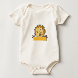 Yellow Labrador Golden Retriever Head Circle Retro Baby Bodysuit