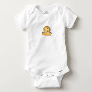 Yellow Labrador Golden Retriever Head Circle Retro Baby Onesie