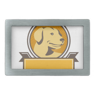 Yellow Labrador Golden Retriever Head Circle Retro Belt Buckles