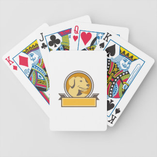 Yellow Labrador Golden Retriever Head Circle Retro Bicycle Playing Cards