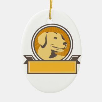 Yellow Labrador Golden Retriever Head Circle Retro Ceramic Oval Ornament