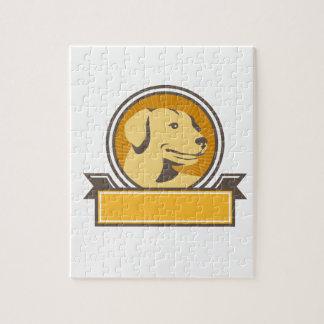 Yellow Labrador Golden Retriever Head Circle Retro Jigsaw Puzzle
