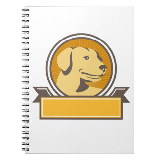 Yellow Labrador Golden Retriever Head Circle Retro Notebook