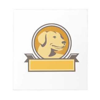 Yellow Labrador Golden Retriever Head Circle Retro Notepad