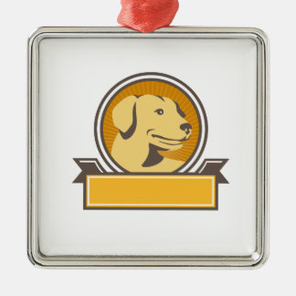 Yellow Labrador Golden Retriever Head Circle Retro Silver-Colored Square Ornament