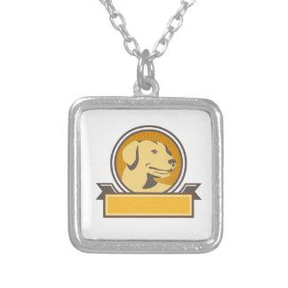 Yellow Labrador Golden Retriever Head Circle Retro Silver Plated Necklace