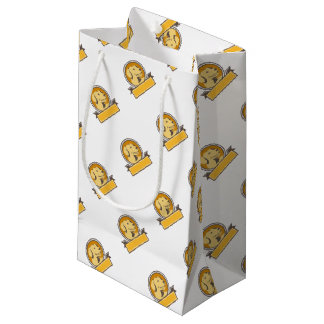 Yellow Labrador Golden Retriever Head Circle Retro Small Gift Bag