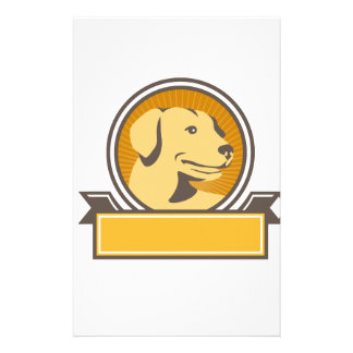Yellow Labrador Golden Retriever Head Circle Retro Stationery