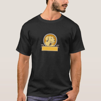 Yellow Labrador Golden Retriever Head Circle Retro T-Shirt